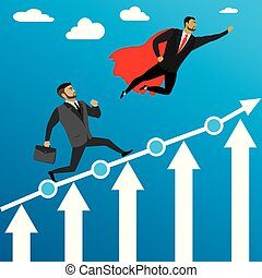businessman run to success and super hero flying