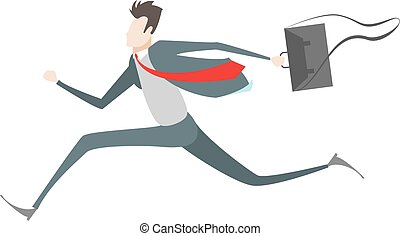 Businessman run to success on isolated background.