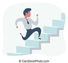 businessman run up the stairs , an employee climbs up the stairs, business concept growth and the path to success