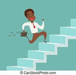 businessman run up the stairs vector illustration, an employee climbs up the stairs