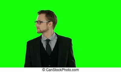 Businessman runing. Green screen.
