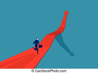 Businessman runing on the arrow red . go to target business success.