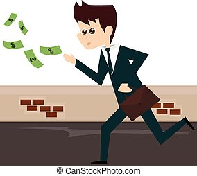 Businessman running after money bil