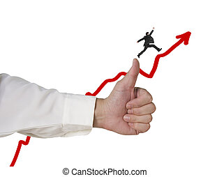 Businessman running and jumping on growing red arrow with thumb up in white background