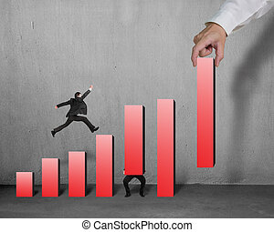 Businessman running and jumping on red bar chart