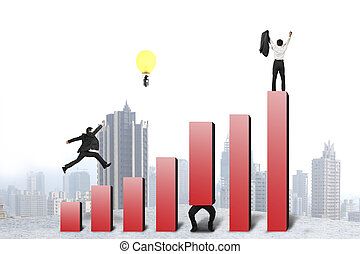 Businessman running and jumping on red bar chart, one cheered