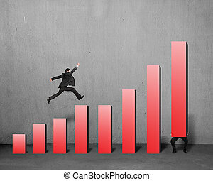 Businessman running and jumping on red bar chart with another lift one in concrete background