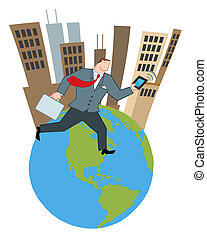 Businessman Running Around A Globe