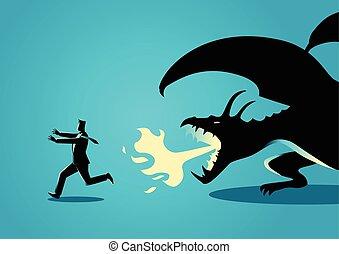 Businessman running away from a dragon