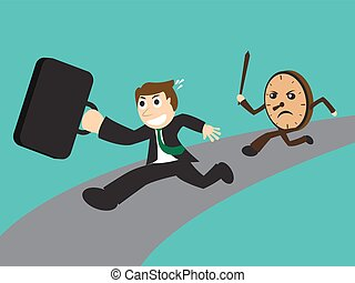 Businessman running away from angry clock