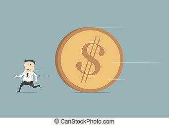 Businessman running away from big coin