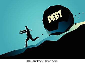 Businessman running away from big stone with message debt - ...