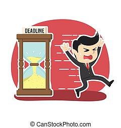 Businessman running away from deadline