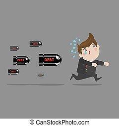 Businessman running away from debt