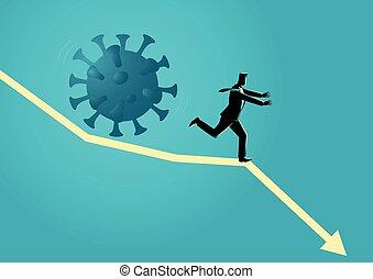 Businessman running away from giant coronavirus