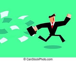 Businessman running away from paper.