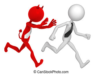 Businessman running away from Businessdevil. Isolated