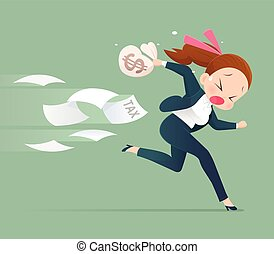 Businessman running away from tax,  Business concept illustration.