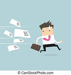 Businessman running away from tax invoice.