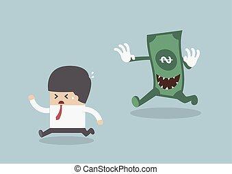 Businessman running away from the money monster, VECTOR,...