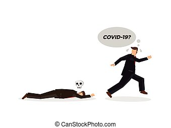 Businessman running away when one of his co-worker faint. Concept of Coronavirus outbreak or pandemic. Vector illustration.