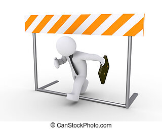 3d businessman is running below obstacle