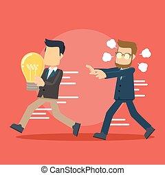 businessman running catching idea stealer