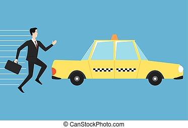 Businessman running for taxi
