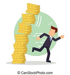 businessman running from falling money