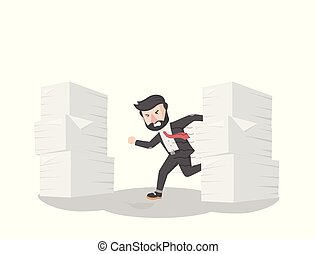 businessman running from his stacky paperwork
