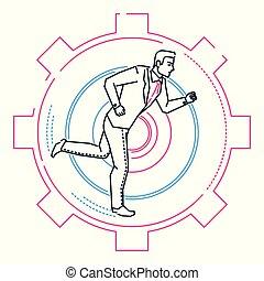 Businessman running in a gear - line design style illustration