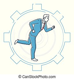 Businessman running in a gear - line design style illustration