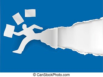 Businessman running in a hurry with papers.