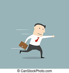 Businessman running in hurry to work