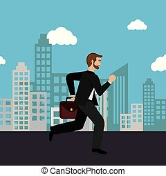 businessman running in the cityscape