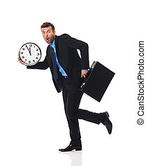 Businessman running late for a meeting