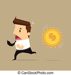 Businessman running Money attack. vector