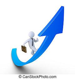 Businessman running on a rising graph