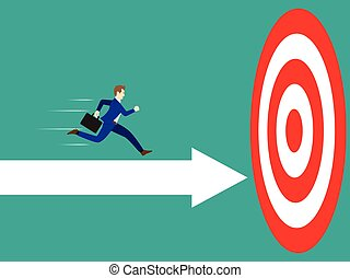 Businessman Running On Arrow To The Target