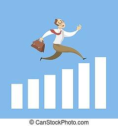 Businessman running on chart.