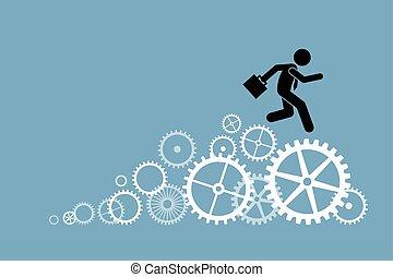 Businessman running on cogwheel