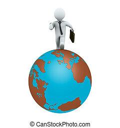 Businessman running on earth
