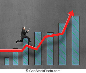 Businessman running on growth red arrow with chart -...