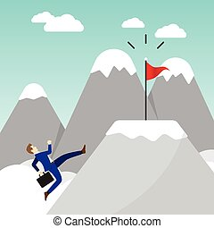 Businessman Running On Mountain To The Flag - Business...