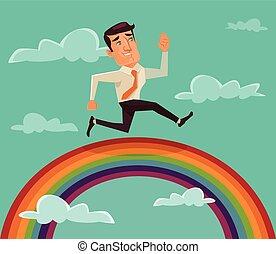 Businessman running on rainbow
