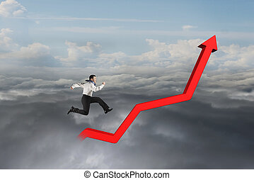 Businessman running on red growth trend line