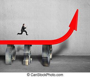 businessman running on red trend