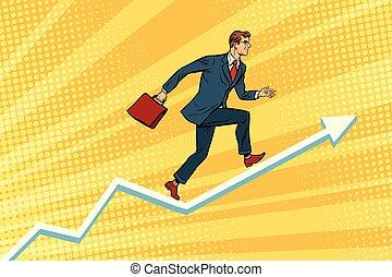 Businessman running on schedule growth