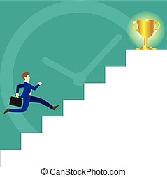 Businessman Running On Stairs To Trophy