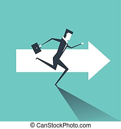 Businessman running on the arrows towards the goal of professional success.